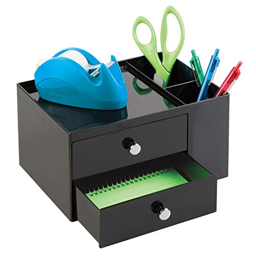 mDesign Schubladen Box - Farbe: Schwarz - Schreibtisch Organizer mit 2 Seitenfächern und 2 Schubladen – Praktisches Ordnungssystem Büro für einen aufgeräumten Arbeitsplatz (Schublade Organizer Box)
