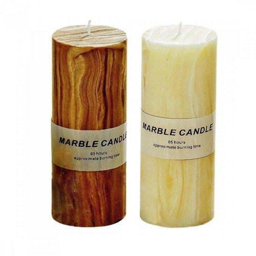 Kerze Marble, Wachskerze, Stumpenkerze, 20 x 8 cm, 1 Stück, sortierte Ausführungen