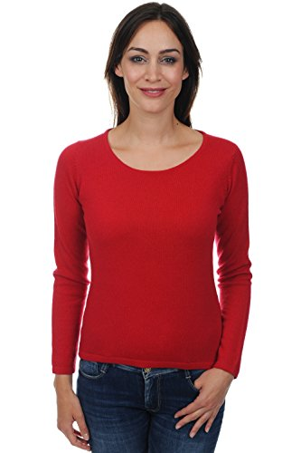 Pullover da donna, collo rotondo, 100% in cachemire rouge velours