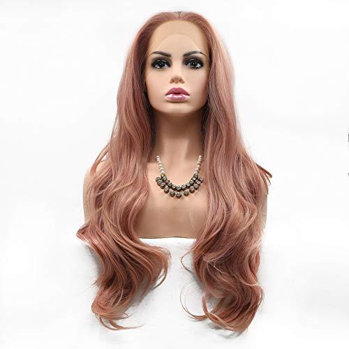 Zwzi Lace Front Perücke Ombre Lange Lockige Perücken Für Frauen Natürliche Gewellte Synthetische Haar Perücke Mit Mittelteil Hand Gebunden Wärme Handwerk (Pink)