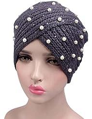 Hosaire Femme Hiver Chapeau Fille Doux Tricoté Bonnet Mode Pearls Ski Chapeau Chaud Crochet Béret Casquette Solid Couleur Gris