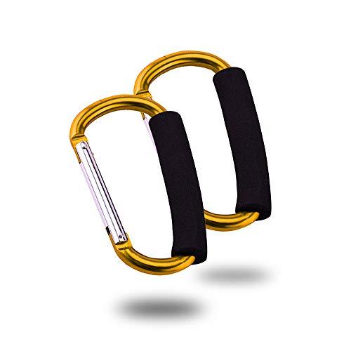 Kinderwagenhaken Clips,widerstandsfähiger Mehrzweckhaken, Mommy Kinderwagen Aufbewahrungstasche Haken Einkaufstasche Spring Snap Keychain Clip-Haken D-Ring-Federclip 2er Pack(Gelb) 82-mm-snap