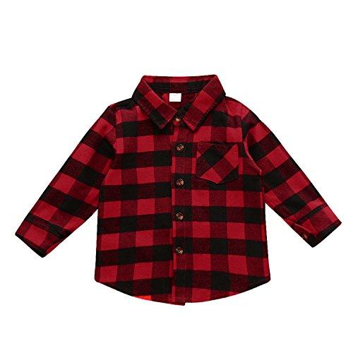 Laitb Unisex Baby Kinder Langarm Karierte Hemd Bluse Tops Shirt Babykleidung