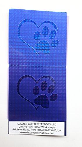 2 x Hund Tatze im Herzen Gesicht Malerei Schablonen wiederverwendbar viele Male Gesicht Maler Werkzeug