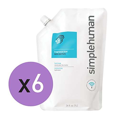 simplehuman Fragrance Free Moisturizing Liquid Hand Soap Refill Pouch, Clear Vitamin E (6 Pack)