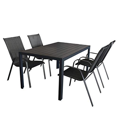 5tlg. Gartengarnitur Aluminium Polywood Gartentisch in Schwarz 150x90cm + Stapelstuhl mit Textilenbespannung Sitzgruppe Sitzgarnitur Terrassenmöbel