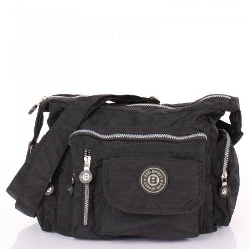 Bag Street Umhängetasche Nylon Bodybag in verschiedenen Farben Geschenkset + exklusiven Greenland Nature Schlüsselanhänger (Camel Stoff Handtaschen)