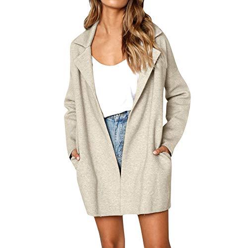 Strickjacke Damen UFODB Frau Trenchcoat Coat Mantel Winterparka Lang Parkajacke Overcoat Solid Mode Loose Revers Pocket Outdoorjacke Jacke Oberteile