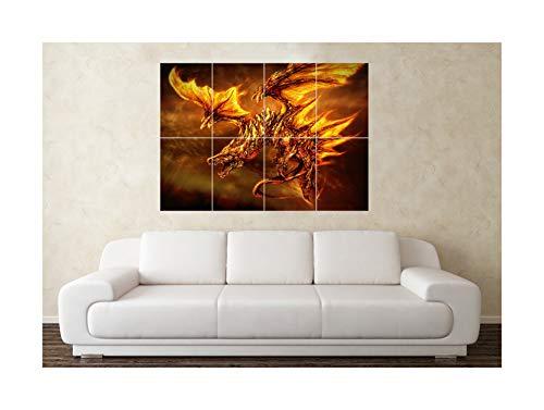 Großer Phoenix Drache Myth Gothic Fantasy Wand Poster Kunstdruck Bild