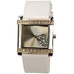 Playboy PB0264RS Womens Watch with Rose Gold Tone Crystal Set Bezel & Pink Leather Strap