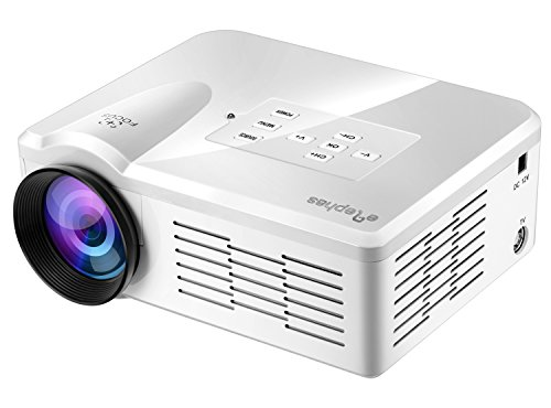 ELEPHAS EB-Q1 Mini Projector, Digital LED TV Pico Projector Portable for Home Cinema, Party and Video Games, White