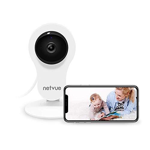 NETVUE 1080P Überwachungskamera Innen WLAN Handy, Sicherheit Kamera WLAN Babyphone mit 2-Wege-Talk IR Nachtsicht-Bewegungsmelder 14x24h Cloud-Speicher Haustier Kamera für IOS Android