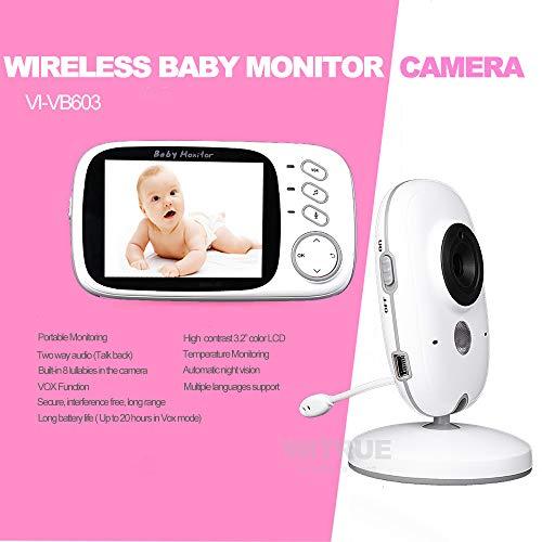 QUARKJK Wireless Baby Monitor 3,2 Zoll Bebe Baba Elektronische Babysitter Radio Video Baby Kamera Kindermädchen Temperaturüberwachung Camara (Camaras Halter)