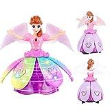 Kapokilly Rotation Danse Princesse, Danse Électrique Féminine Danse Éblouissante Petite Princesse Robot Enfants Jouet Musique Tournant Danse Chanter Poupée Dansante LED Projection Papillon Ailes Fée