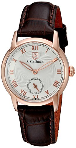 S.Coifman Women's Quartz Watch with Rose Gold Dial Analogue Display and Brown Leather Strap SC0346