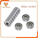 10PCS/lot Flange Ball Bearing 623zz 624zz 625zz Deep Groove Flanged Pulley Wheel for 3D Printers Parts