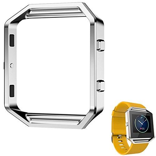 Fitbit Blaze Rahmen, angolf Fitbit Blaze Accessory Gestell Metall Edelstahl Armbanduhr Gestell Halterung Shell Ersatz Gehäuse Schutzhülle für Fitbit Blaze Smart Watch silber
