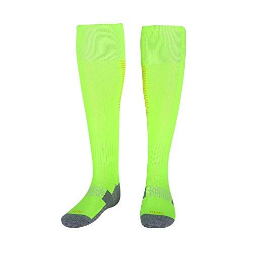 Fußball Socken, 3 Farben 1 Paar Männer Fußball Sport Knie Hohe Anti Slip Dicke Rohr Socken(Fluoreszierende grüne orange Streifen)