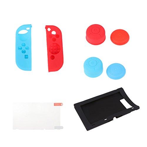 Gazechimp Cubierta de Silicona para Consola de Interruptor para Controladores Joysticks con Protector de Pantallas para Nintendo Switch & Joy-Con