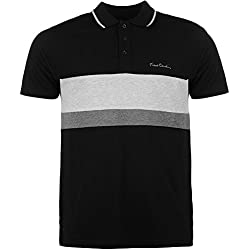 Pierre Cardin Hombre 100% Algodón Polo de Rayas Pique con Bordado de Firma (Medium, Black/Grey Marl)