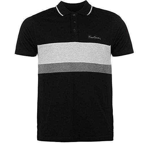 Pierre Cardin New Season Herren 100% Baumwolle Schnitt und Nähen Streifen Panel Tiping Kragen Pique Polo-Shirt mit Unterschrift Stickerei (XL, Black/Grey Marl)