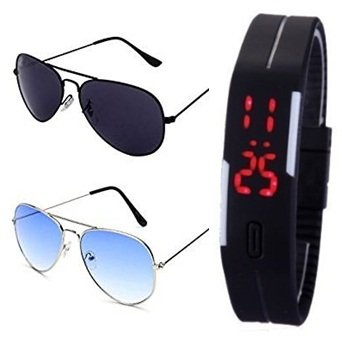 SILVER BLUE AVIATOR SUN GLASSES AND BLACK AVIATOR GOGGLES (GOGALS) WITH TPU BAND RED LED DIGITAL BLACK DIAL UNISEX WATCH  available at amazon for Rs.399