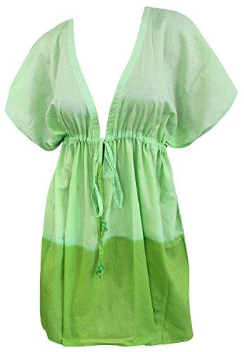 La Leela weiche Baumwolle verschleiern Kaftan Strand und Robe Hand tie dye Badeanzug Frauen Mode grün