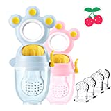 Godoboo Fruchtsauger für Babys 4 Silikon-Sauger in 2 Größen Schätzchen Schnuller Gemüse sauger Schnuller Beißring für Obst Gemüse Brei Beikost