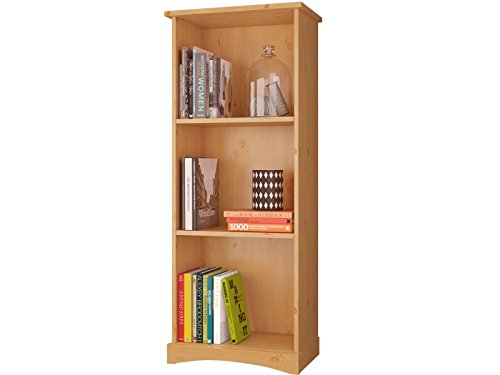 Bücherregal YORK aus Kiefer massiv in gebeizt geölt, weiß lasiert, weiß/honig (gebeizt geölt) (Bücherregal Honig)