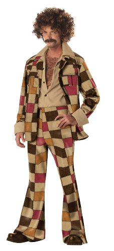 Suit Leisure Kostüm - Mens Disco Leisure Suit Fancy dress costume, Multi-Colored, M