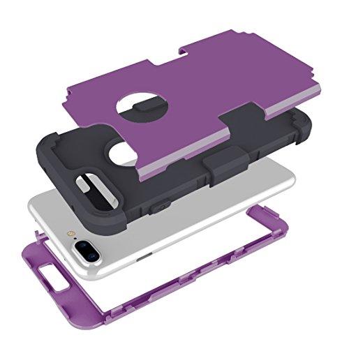Hülle für iPhone 7 plus , Schutzhülle Für iPhone 7 Plus Trennbare Kontrastfarbe PC + Silikon Kombi-Gehäuse ,hülle für iPhone 7 plus , case for iphone 7 plus ( Color : Dark Blue ) Purple