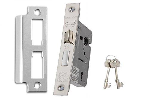 Gridlock 6,3cm/64MM a 3leve, in ottone, ideale per porte in legno interno dove lucchetto e chiave di sicurezza è obbligatorio, adatto per destro e sinistro appeso porte