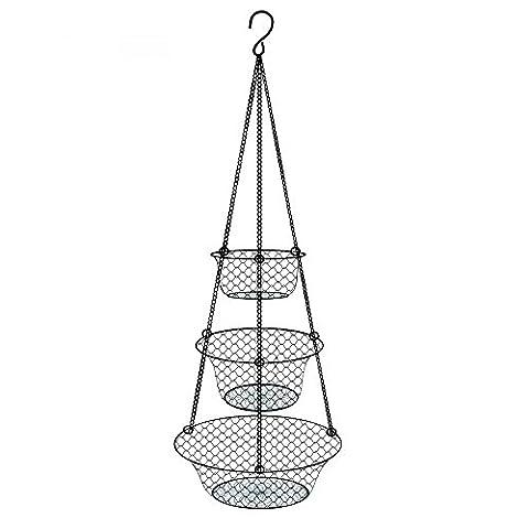 3 Tiers Hanging Storage Basket for Kitchen Vegetable Fruit, Metal,