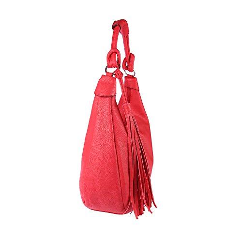 OBC Damen Tasche Shopper Handtasche Henkeltasche Schultertasche Hobo Bag Bowling, Beuteltaschen, (Beige) Rot