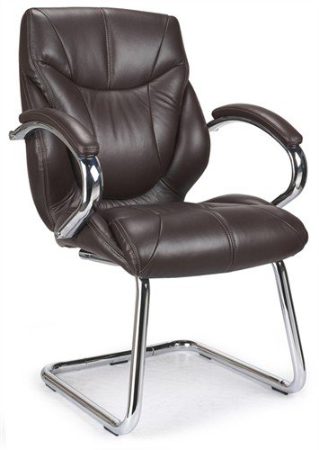 Best Eliza Tinsley 617AV/BW Chrome Cantilever Framed Luxurious Leather Visitors Armchair – Brown Reviews