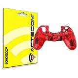 ACTECOM Funda Carcasa Silicona Camuflaje Rojo Mando Sony PS4 Playstation 4