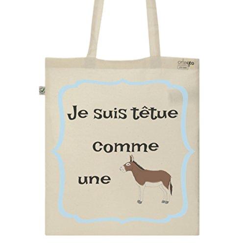 Tote Bag Imprimé Ecru - Toile en coton bio - Têtue comme une mule