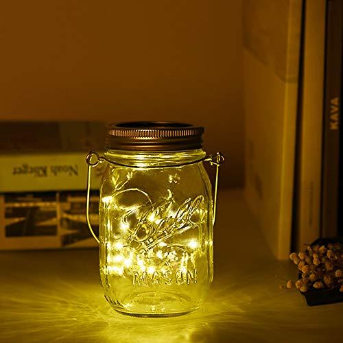 Dailyart Solarlampen für Außen 20 LED Solar Mason Jar Licht Solarleuchte Laterne im Einmachglas Glas IP65 Wasserdichte Gartenlicht Solar Lichterketten für Garten,Terrasse, Balkon,Party Deko(Warmweiß)