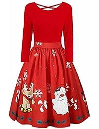 Weihnachten Kleid Damen,Marlene(R) Spitzennähte unregelmäßiges großes Weihnachtskleid (-30%) XL~5XL
