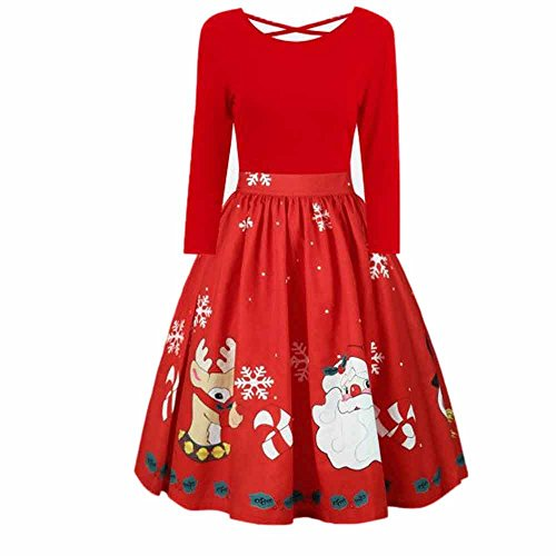 sunshineBoby Damen Vintage Rockabilly Kleid Faltenrock Mode Langarm Plus Größe Weihnachten Print Criss Cross Party Kleid Kleid Petticoat Faltenrock Rockabilly Kleid Cocktailkleider (rot, XL)