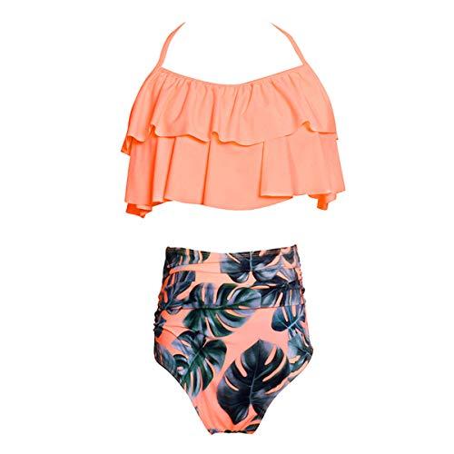 HAINE Damen Tankini Bikini Set Streifen Badeanzug Schwimmanzug Halfter Bademode Orange S