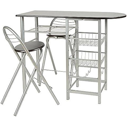 ts-ideen Juego de comedor de tres piezas, mesa de desayuno fibra de madera, 79 x 110 cm con sillas para la cociana, comedor, Apto de estudiante u