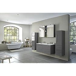 SAM® 4tlg. Badmöbel-Set Villa, 120 cm, Badset mit Softclose-Funktion, in hochglanz grau, bestehend aus Doppelwaschplatz mit Mineralgussbecken, Spiegelschrank und 2 x Hochschrank