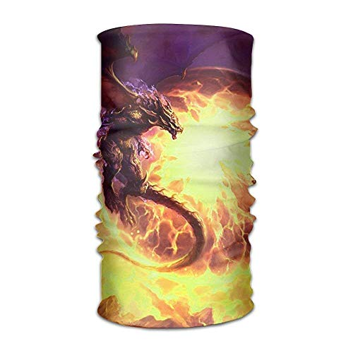 Wfispiy Unisex Fondos Dragones Fire Multifunction Bandana Headband Athletic Kopfbedeckung Sweatband,Magic Scarf,Neck Balaclava,Helmet Liner,Tube Mask,UV Resistence Outdoor Sport Yoga -
