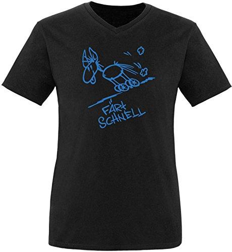 Luckja Färt schnell Herren V-Neck T-Shirt Schwarz/Blau