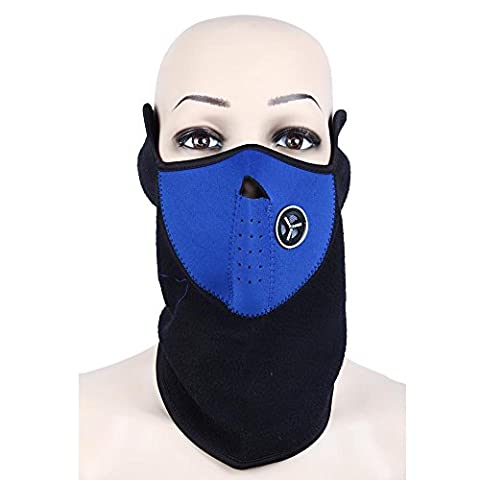 Tour de Cou cache nez oreille moto ski scooter Cagoule casque textile bleu noir