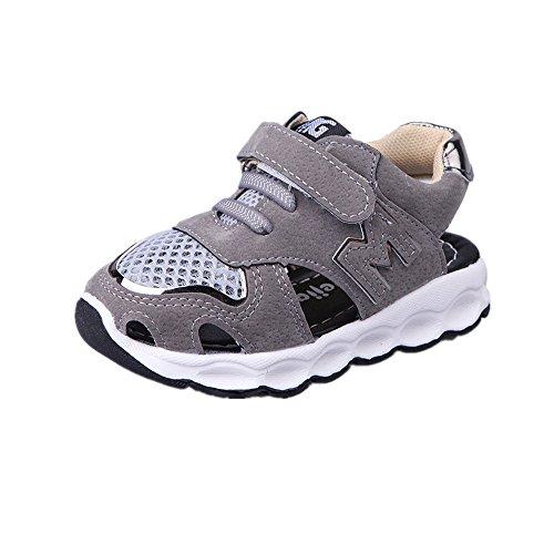 Kinderschuhe Kinder Leichte Sport Laufschuhe Sandalen Atmungsaktive Rutschfeste Weiche Unterseite Mädchen Jungen Net Schuhe Freizeitschuhe Outdoor Sportschuhe Sneaker BC-8 (23, Grau) -