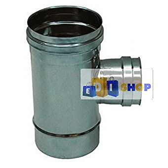 CHEMINEE PAROI SIMPLE TUYAU TUBE INOXIDABLE AISI 316 - dn 140 raccordo a tee 90° ridotto dn 80 femmina canna fumaria tubo acciaio inox 316 parete semplice