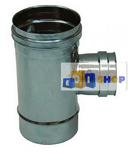 CHEMINEE PAROI SIMPLE TUYAU TUBE INOXIDABLE AISI 316 - dn 130 raccordo a tee 90° ridotto dn 80 femmina canna fumaria tubo acciaio inox 316 parete semplice