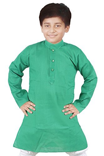 JBN Creation Boys Jute Lenin Green Kurta (Size: 4-5 Years)